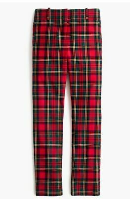 90a05e4747fd NWT J Crew Cameron Pants Womens Slim Crop Holiday Red Tartan Plaid Size 2  Wool