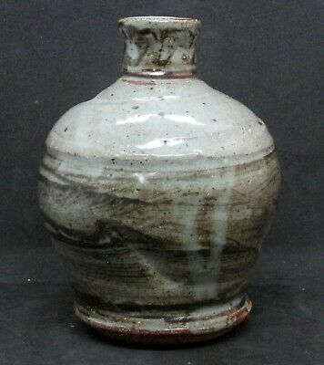 Small Arts & Crafts Pottery Bottle in Gray & Green - Abstract Style
