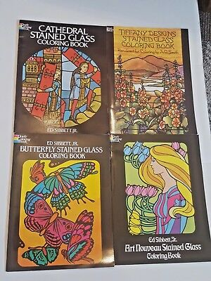 DOVER COLORING BOOKS Stained Glass Coloring Lot of 4 ...