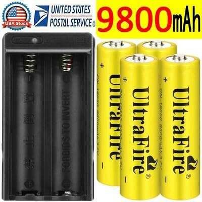 4PCS Skywolfeye 18650 Battery Rechargeable 3.7v 5000mAh Li-ion + 1x Charger USA