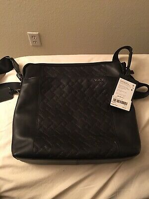 Authentic Tumi Leather crossbody Zip Top Bag Black