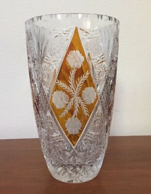 Czech Bohemian Crystal Glass Vase w 3 Amber/Yellow Cut To Clear Panels Large