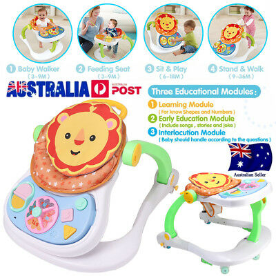 4 in 1 Baby Walker Adjustable Activity Learn Toddler Travel Stroller Push Toys