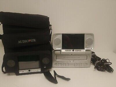"Audiovox VBP3000 Portable Car VHS Player VCR w/ Two 5"" Dual LCD Screens and Case"