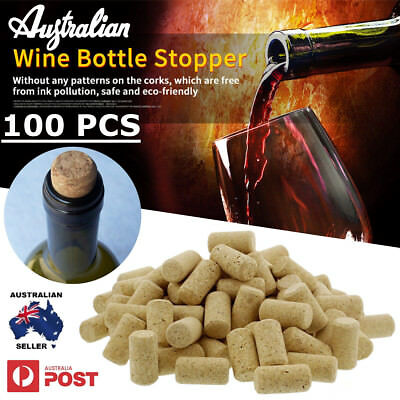 100Pcs High Quality Conical Natural Cork Bottle Stoppers Wine Corks Crafts AU