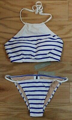 08a4a94da78595 NWT Striped Halter Small 2-Set Nautical J.Crew White   Blue Bikini  Cruisewear