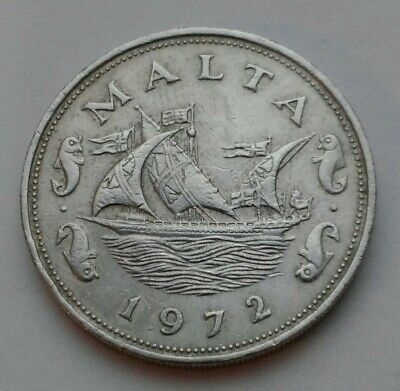Barge of the Grand Master Malta 10 Cents 1972 Brilliant Uncirculated Coin