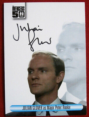 THE AVENGERS 50th - JULIAN GLOVER as Major Peter Rooke - Autograph Card AVJG