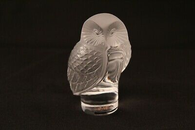 """Lalique Frosted Crystal Art Glass Paperweight Chouette Owl Figurine 3.5"""" Signed"""
