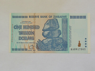 Zimbabwe 100 Trillion Dollars (1 Note = 100 Trillion) AA 2008 P-91, UNCIRCULATED