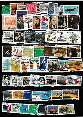 #1385=Canada used mix of 60 different commemorative stamps
