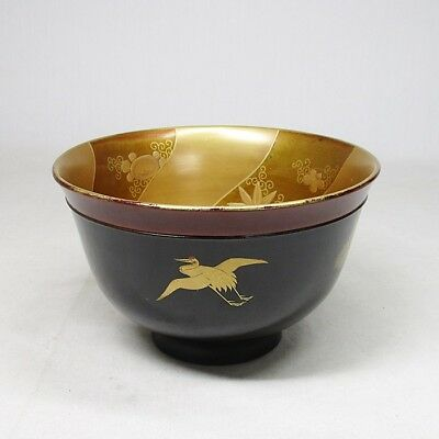 A028: Antique Edo Japanese Gold Makie Lacquered Wooden Sake Cup Washer Haisen