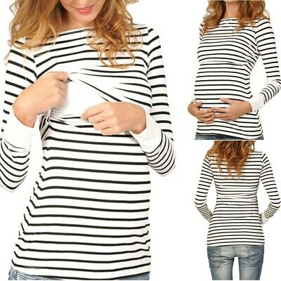 Women Mom Pregnant Nursing Shirts Baby Maternity Long Sleeved Stripe Tops Blouse
