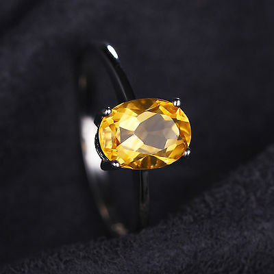 1.2ct 8mm Gorgeous Genuine Citrine Oval Solid Sterling Silver Ring Size 8
