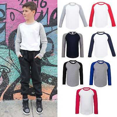SF Mini Kids Long Sleeve Baseball Tee SM271 - Children Sports Skin-fit T-shirt