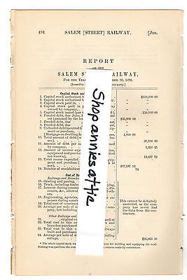 1872 Massachusetts train report SALEM RAILWAY vintage horse trolley streetcar MA