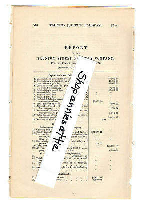 1872 Massachusetts train report TAUNTON RAILWAY streetcar horse trolley Weir MA