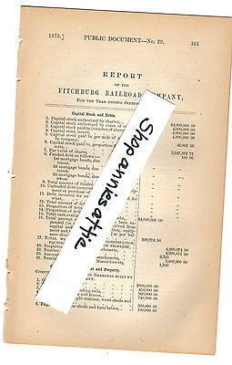 1872 Massachusetts train report FITCHBURG RAILROAD COMPANY rare RR paper MA