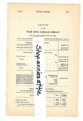 1903 Massachusetts train report WARE RIVER RAILROAD Palmer Winchendon MA RR rare