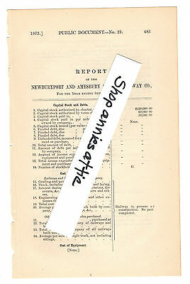 1872 Massachusetts train report NEWBURYPORT & AMESBURY RAILWAY Essex County MA