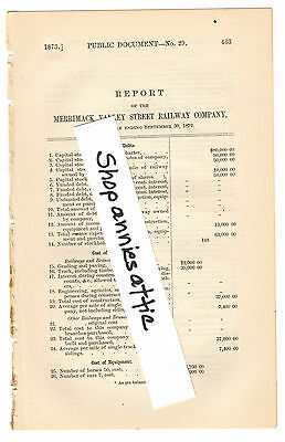 1872 Massachusetts train report MERRIMACK VALLEY STREET RAILWAY Methuen Andover