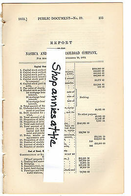 1872 Massachusetts train report NASHUA & LOWELL RAILROAD COMAPNY rare NH MA RR