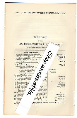1872 Massachusetts train report NEW LONDON NORTHERN RAILROAD Millers Falls MA