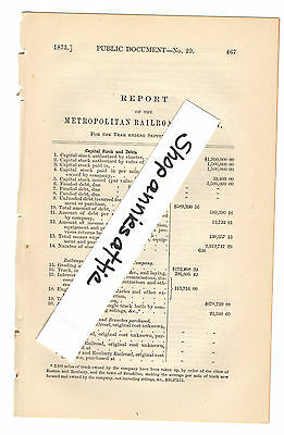 1872 Massachusetts train report METROPOLITAN RAILROAD Horse Trolley Boston MA