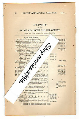 1872 Massachusetts train report BOSTON AND LOWELL RAILROAD antique paper MA