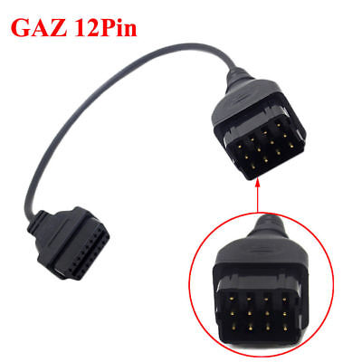 Fit GAZ 12Pin Male to OBD2 DLC 16Pin Female Car Diagnostic Tool Adapter Cable