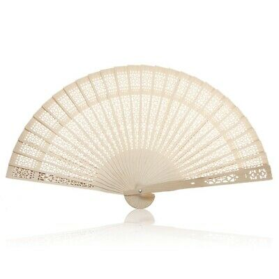 Summer Vintage Folding Bamboo Wooden Carved Hand Fan Wedding Bridal Party  S6K9)