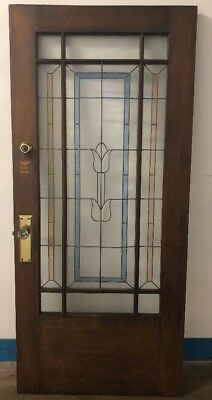 Vintage Solid Wood Front Door with Multi/Color Stain Glass Panels