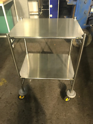 Stainless Steel mobile trolley with lower shelf.