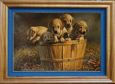 """Fine art  sale pets oil painting on canvas at home dogs 100% handmade 24""""x36"""""""