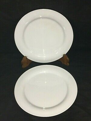 """Arzberg Large 11 1/4"""" DINNER PLATES Lot x2 Pure White Mid-Century Modern Germany"""