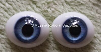 16mm Sky Blue Oval Glass Eyes Reborn Baby Doll Making Supplies