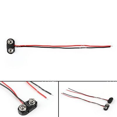 5Pcs PP3 9V Batería Conector Cobre Clip End Entry Tinned Cable Leads 150mm