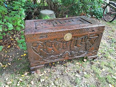 Vintage Chinese Carved Camphor Wooden oriental Trunk / Chest 101cm x 53cm x 61cm