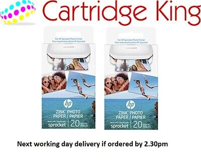 HP ZINC Sticky-Backed Photo Paper 2x3 inch 40 sheets new