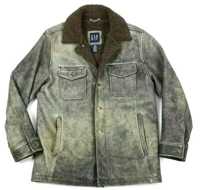 de70e21d8 GAP MENS 100% Leather Sherpa Lined Insulated Bomber Leather Jacket Medium