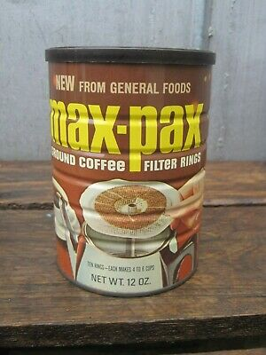 Vintage 1960's  Max-Pax Sealed Coffee Can Maxwell House With Contents B9998