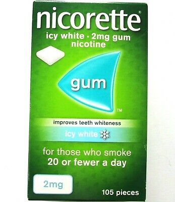 NICORETTE Icy White Flavour 2mg  Gum - 105 Pieces BEST BEFORE DATE  02/2020