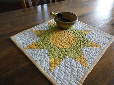 Early Antique Cheddar & Green Table Topper Doll Quilt AAFA