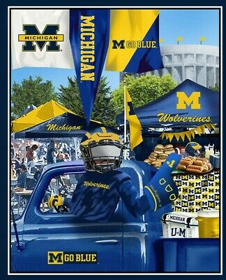 Large Michigan Wolverines Uofm Ncaa Panel Wall Hanging Fabric Material 4 Quilts