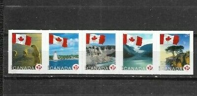 pk41786:Stamps-Canada #2193ai Flags Over 'P' Rate Defintive Strip of 5 - MNH