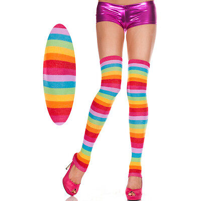 Rainbow Stripes Thick Footless Thigh High Hi Leg Warmers MLP Costume Cosplay OS