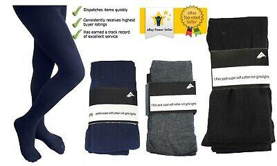 Uk Pair Of Cotton Rich School Children Girls Super Soft Kids Party Footed Tights