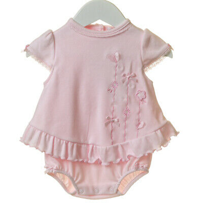Baby Girls Pretty Spanish Style Pink Butterfly & Flower Cotton Frilly Romper