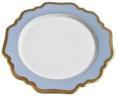 """Set of 2 ANNA WEATHERLEY China Sky Blue / Gold Trim Scallop DINNER PLATES 10.5"""""""