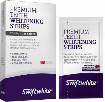 Teeth Whitening Strips Peroxide-Free Kit Fast Quick Results Home Stain Removal